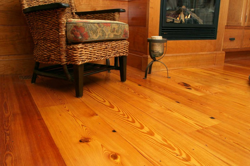 reclaimed heart pine flooring select flatsawn with some knots and character