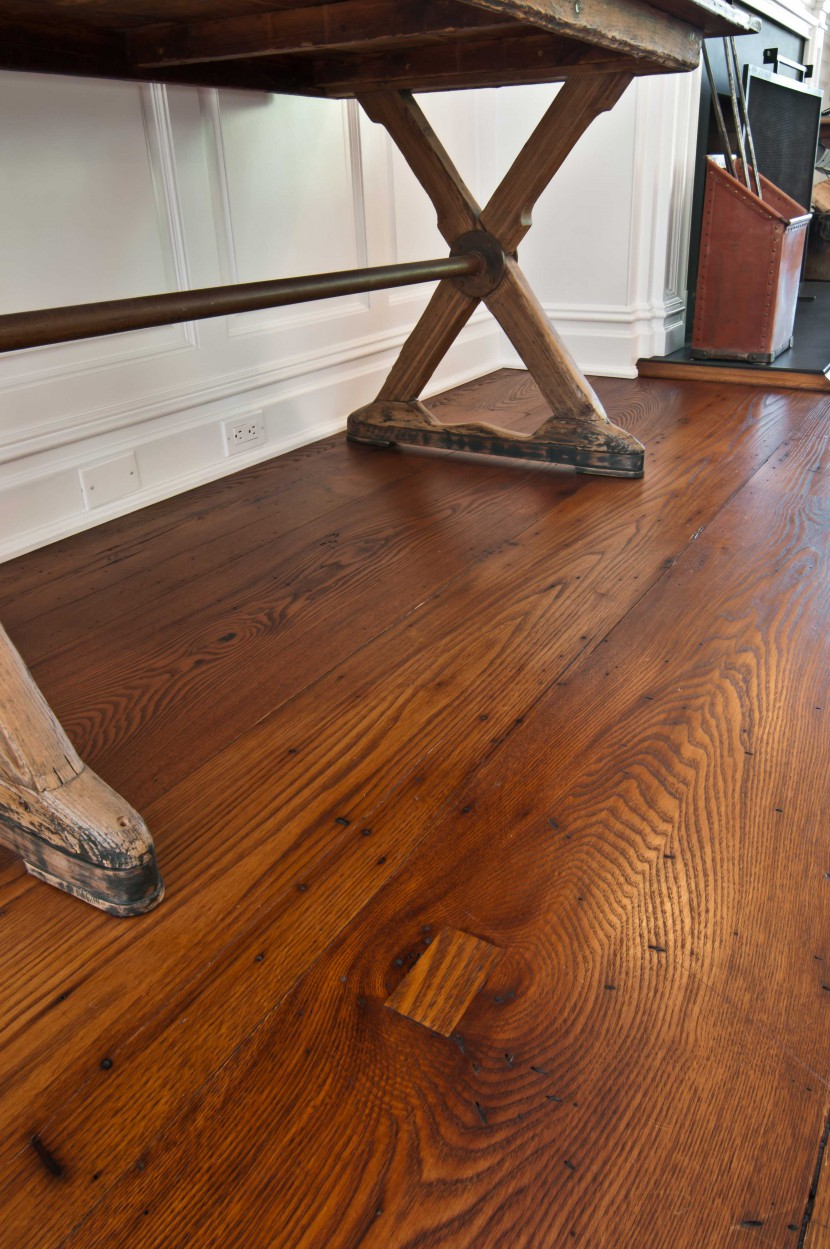 reclaimed wide dark wormy american chestnut flooring milled for private residence in cold spring harbor new york long island antique salvaged