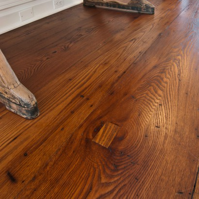 reclaimed wide and wormy and dark american chestnut flooring salvaged antique for private residence in cold spring harbor new york long island