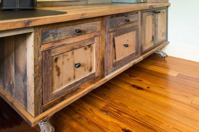 reclaimed salvaged antique skip planed oak custom milled for cabinets in a private residence