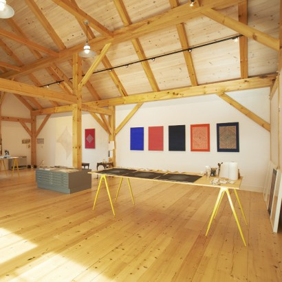 Reclaimed Bright Spruce Flooring in an Artist's Studio, Yarmouth, Maine