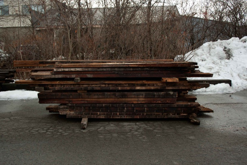 reclaimed heart pine wood floor joists from the quincy masonic temple