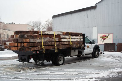 reclaimed salvaged antique repurposed heart pine beams on longleaf truck