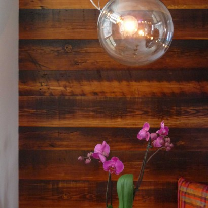 reclaimed salvaged antique repurposed heart pine skip planed for an accent wall