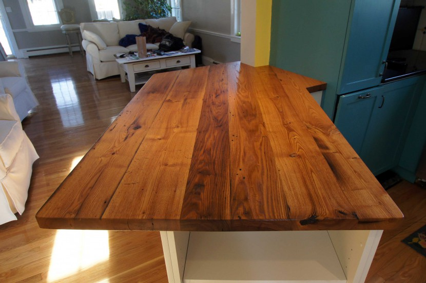 reclaimed salvaged antique repurposed american chestnut wood kitchen counter top