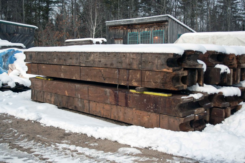 Beams from Amoskeag Mill Number 12 Annex in Manchester, New Hampshire, where Longleaf Lumber reclaimed wood.