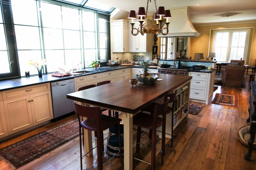 reclaimed antique salvaged white oak flooring and walnut counter top for a kitchen island in a hingham massachusetts private residence