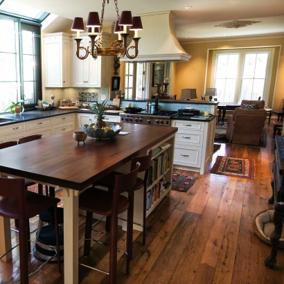 reclaimed repurposed antique salvaged white oak flooring and walnut counter top for a kitchen island in a hingham massachusetts private residence