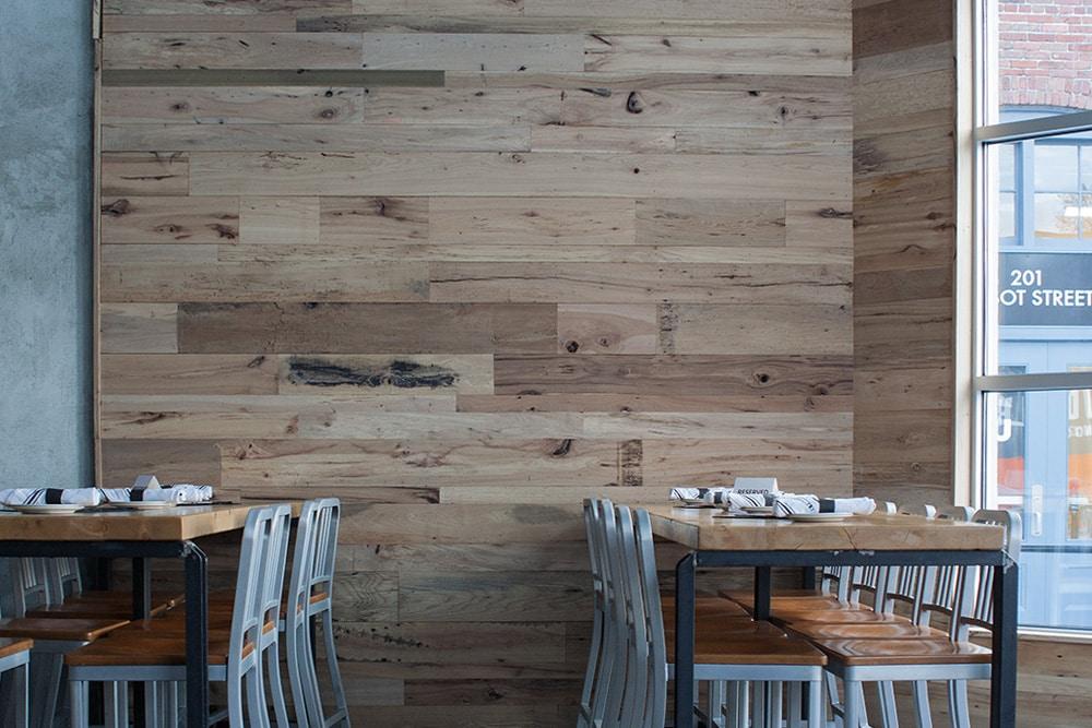 Reclaimed Oak Post & Beam Wood Paneling in Lowell, MA Restaurant