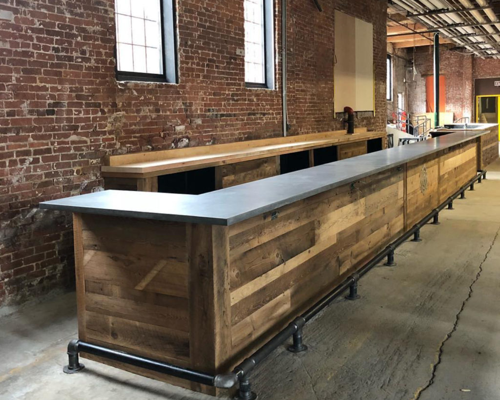 Buildout of Rhode Island Brewery Bar with Reclaimed Wood Paneling