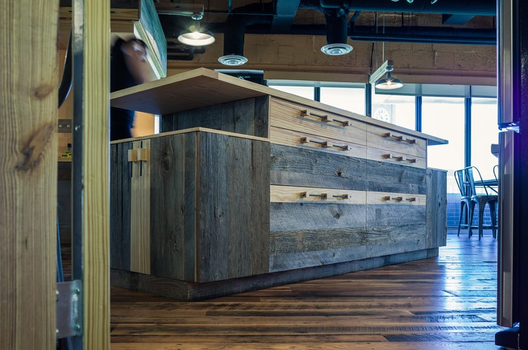 Reclaimed Barn Board Cabinets ~ Venture Café at Cambridge Innovation Center, Kendall Square, Massachusetts