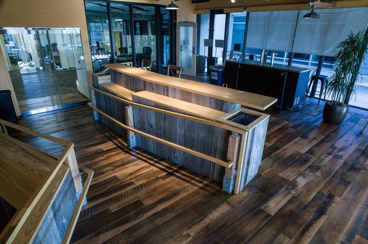 Reclaimed Skip-Planed Oak Flooring ~ Venture Café at Cambridge Innovation Center, Kendall Square, Massachusetts