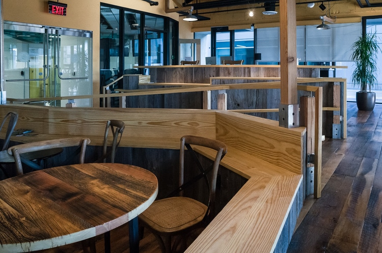 Reclaimed Heart Pine Benches ~ Venture Café at Cambridge Innovation Center, Kendall Square, Massachusetts