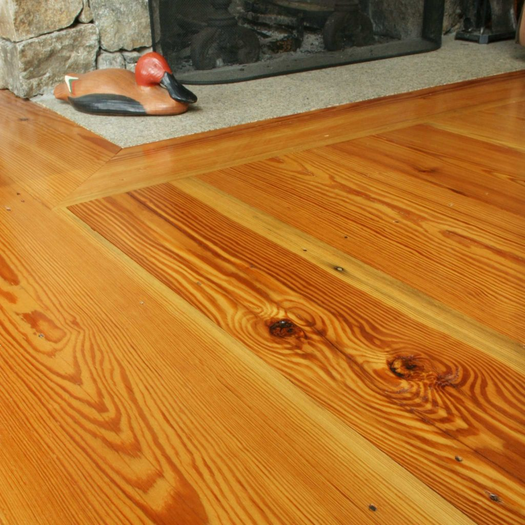 Select Flatsawn Reclaimed Heart Pine Flooring in Maine Home