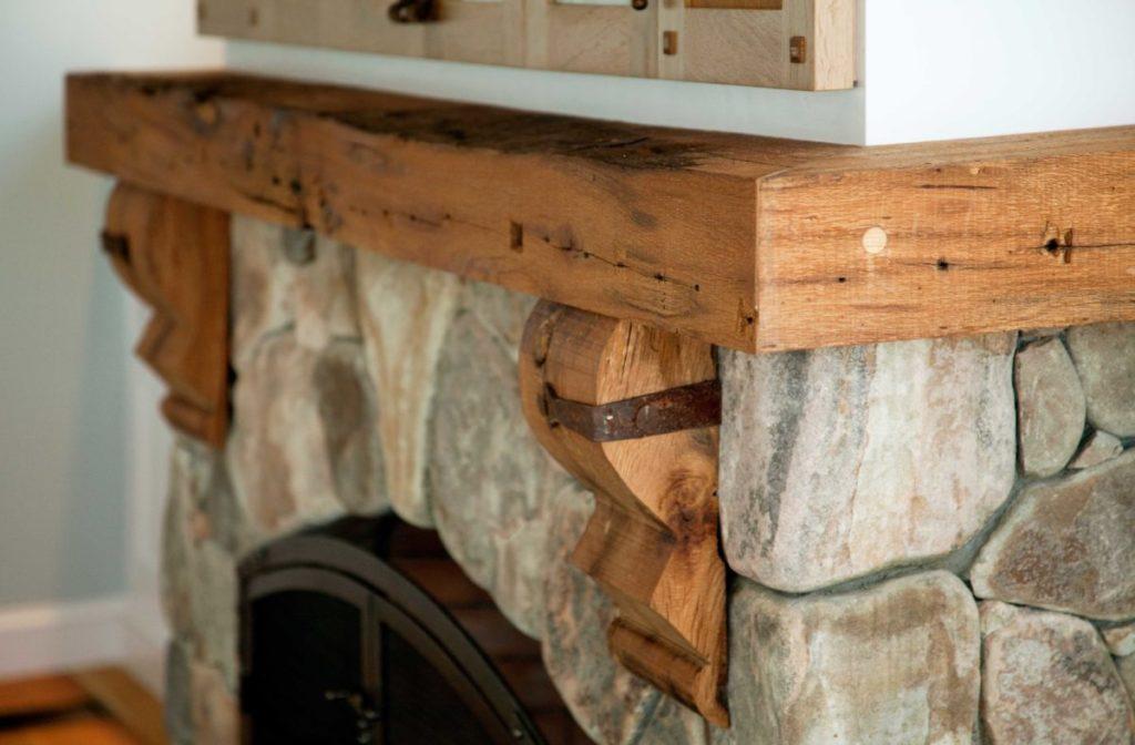 Reclaimed oak mantel in Rockport, Massachusetts