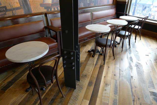 Reclaimed Skip-Planed Oak Flooring ~ Starbucks, Harvard Square, Cambridge, Massachusetts