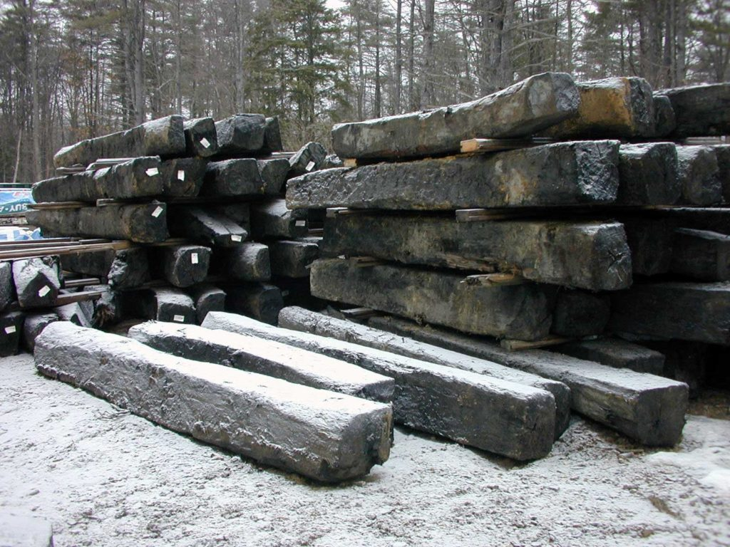 Reclaimed southern Live Oak timbers being sorted in Berwick, Maine.