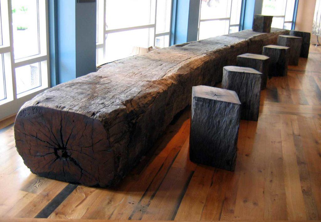 Reclaimed Southern Live Oak Museum Bench & Pedestals ~ Boston, Massachusetts