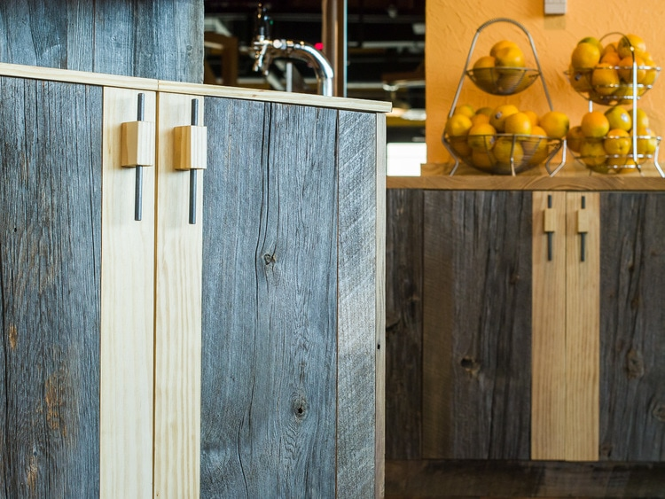 Reclaimed Barn Board & Heart Pine Cabinets ~ Venture Café at Cambridge Innovation Center, Kendall Square, Massachusetts