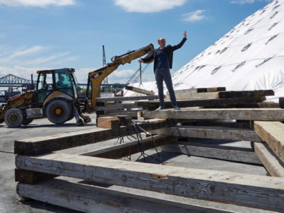 Salvaged Fir Beams In Outdoor Set For Apollinaire Theatre In Chelsea, MA