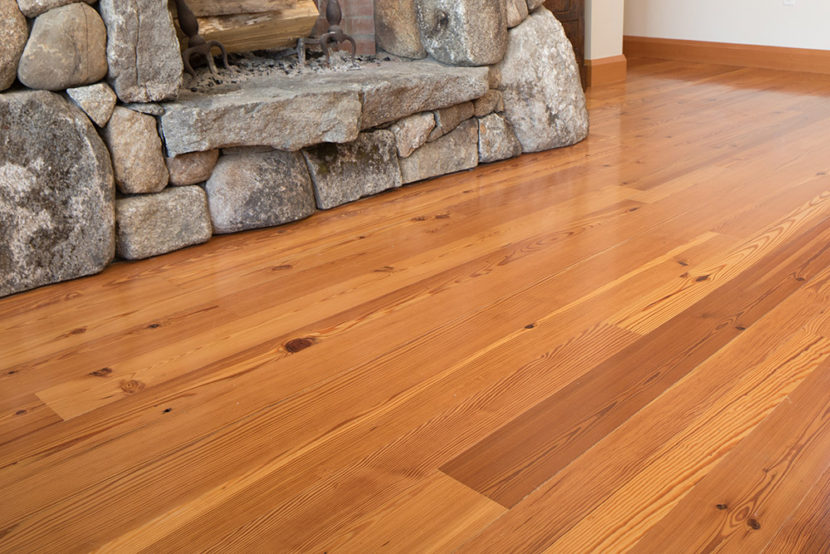 Select Flatsawn Reclaimed Heart Pine Flooring - Finished With Oil-Based Polyurethane