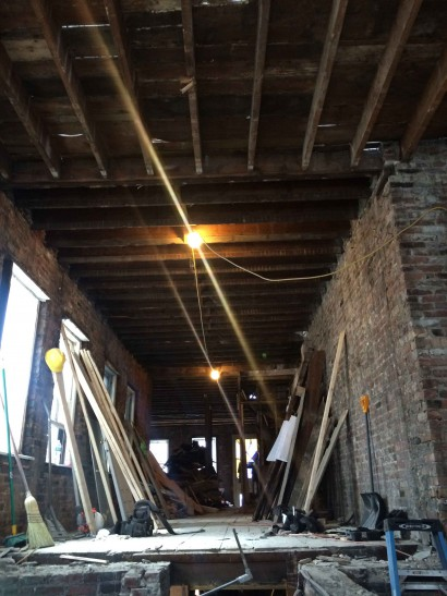 Reclaiming Wood inside South Russell Street in Boston