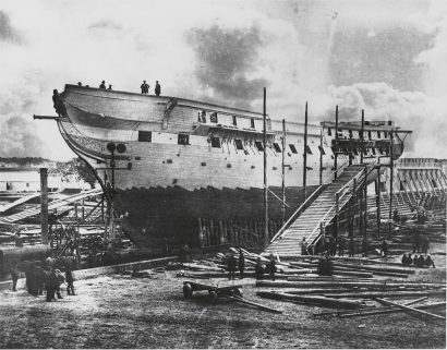USS Constitution Under Repair in 1858