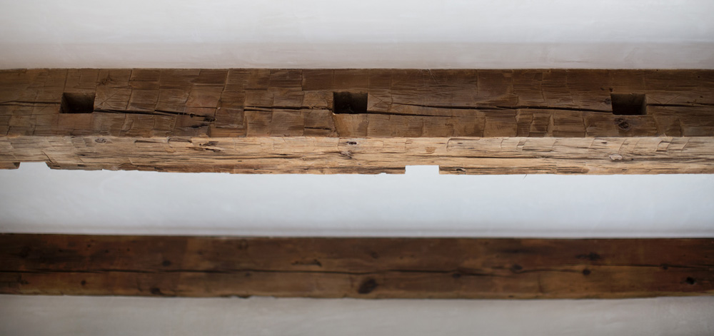 Antique Hand-Hewn Ceiling Beams in Private Home