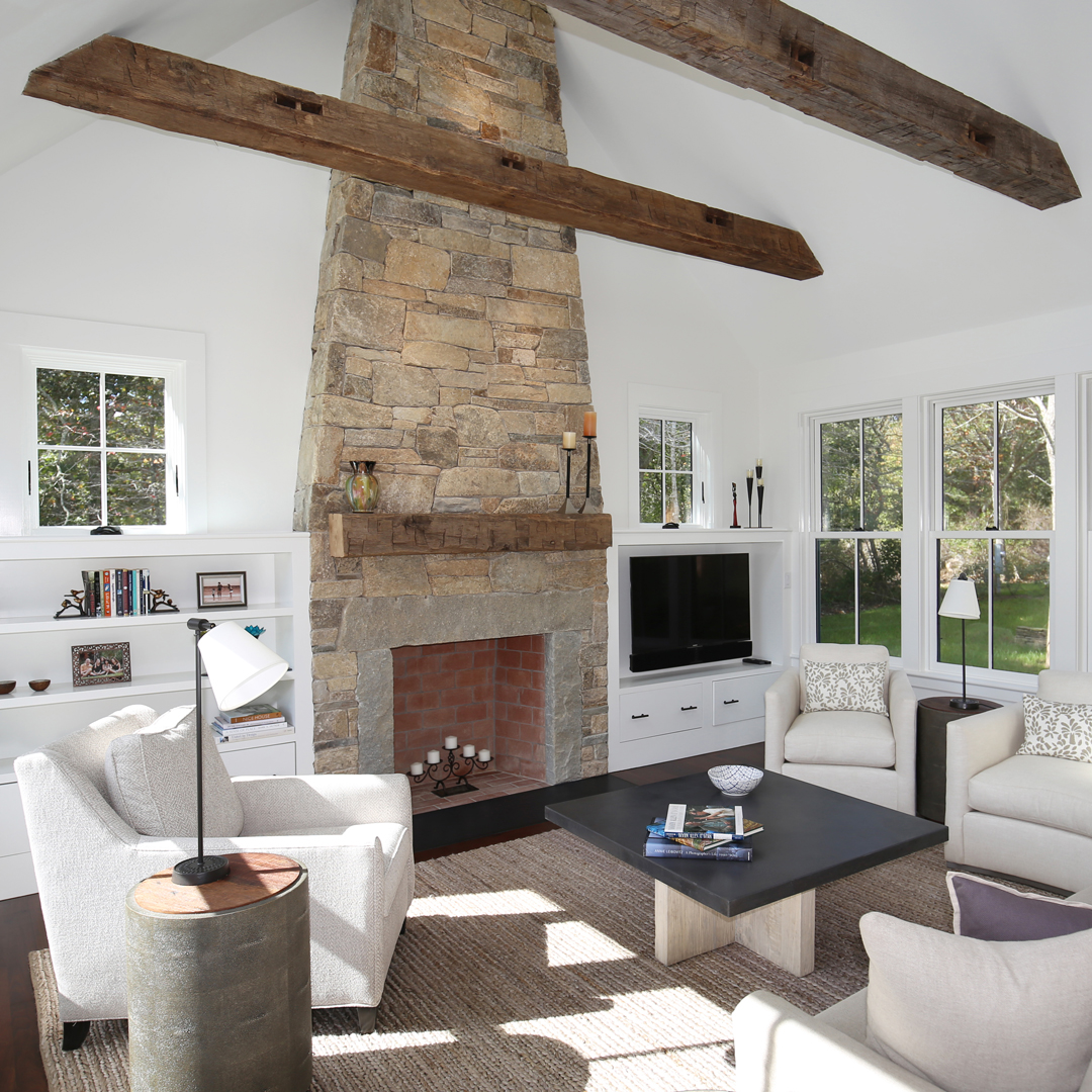 Salvaged Hand-Hewn Fireplace Mantel and Beams