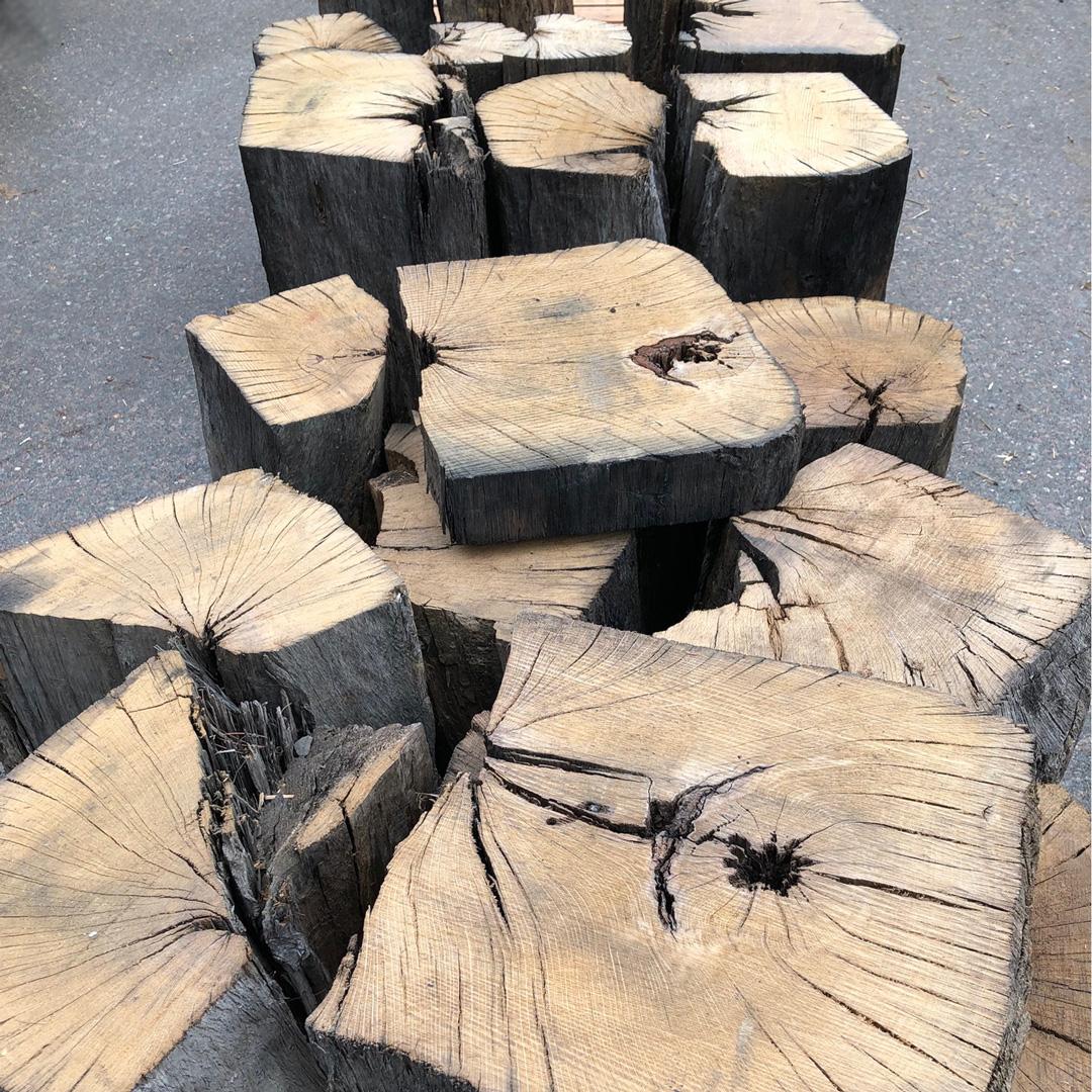 Reclaimed Live Oak Pedestal Bases and Slices