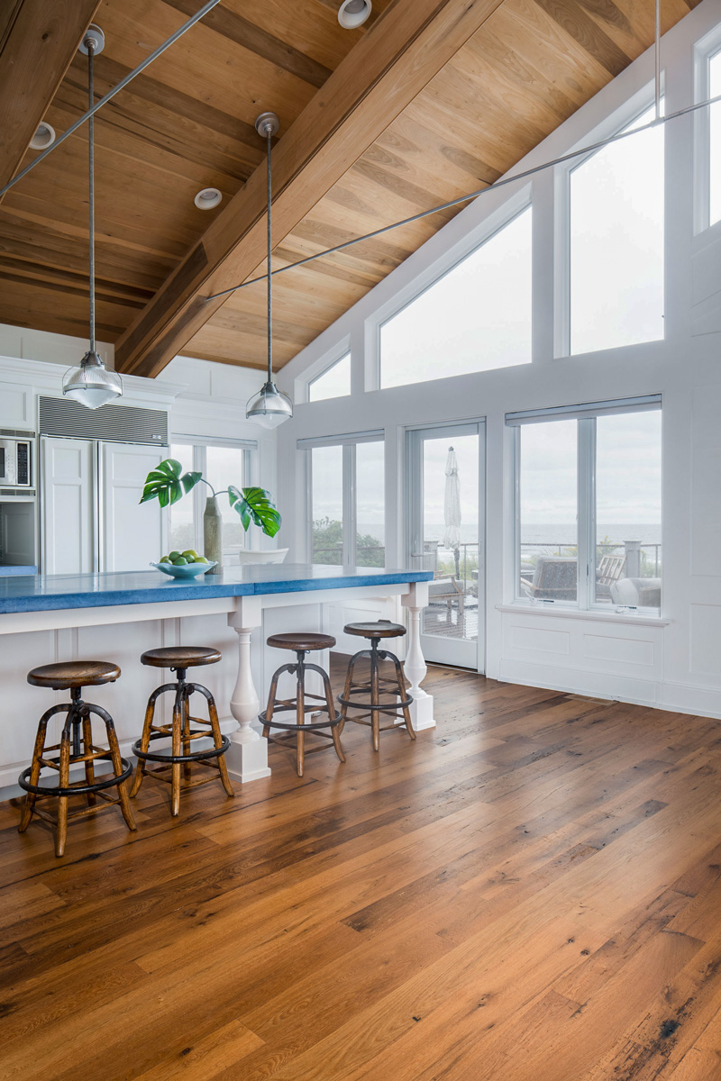 Antique Wood Paneling: Reclaimed Oak Flooring & Wire-Brushed