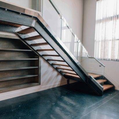 Reclaimed Hickory and Steel Staircase by NS Builders in Boston