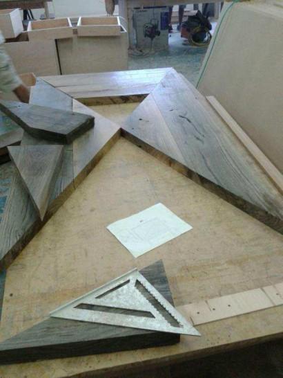 Assembling Reclaimed Live Oak Tabletop