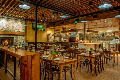 Capo Restaurant in South Boston Open Kitchen & Reclaimed Wood Tables