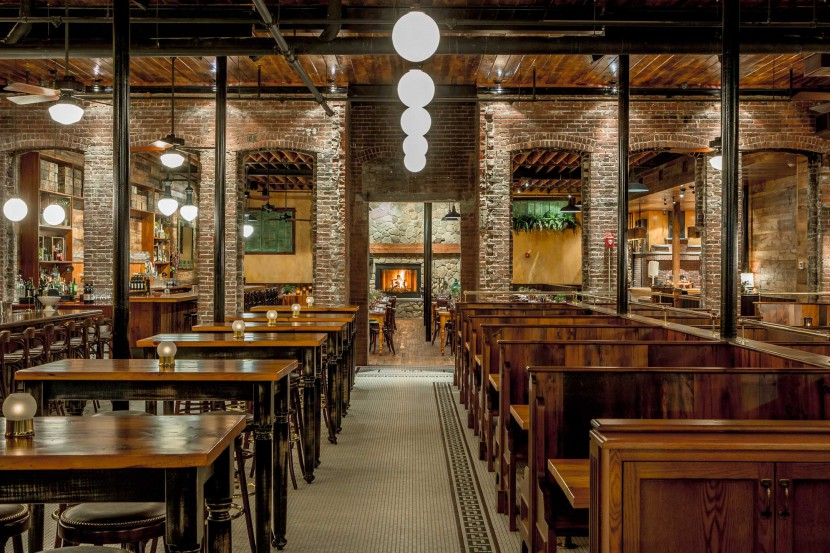 Capo Restaurant reclaimed white pine tables and booths