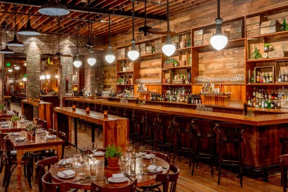 Capo Restaurant in South Boston Reclaimed Heart Pine Bar