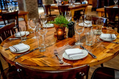 Capo Restaurant reclaimed Northern Hard Pine tables