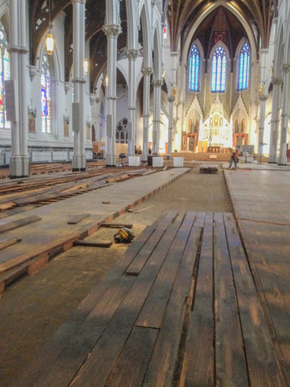Cathedral of the Holy Cross in Boston - Dismantling the Floor