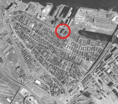 Aerial view of Charlestown's Terminal Storage Warehouse, 1995.