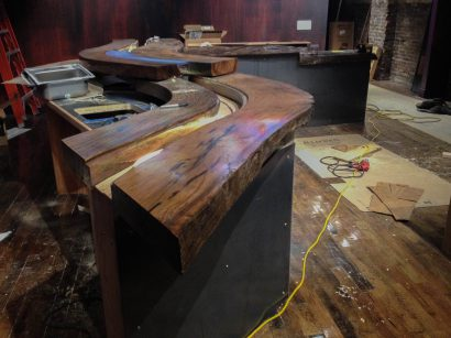Installation Of Salvaged Live Oak Bartop At Apollinaire Theatre