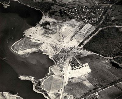 Construction of the Bethlehem Hingham Shipyard in MA
