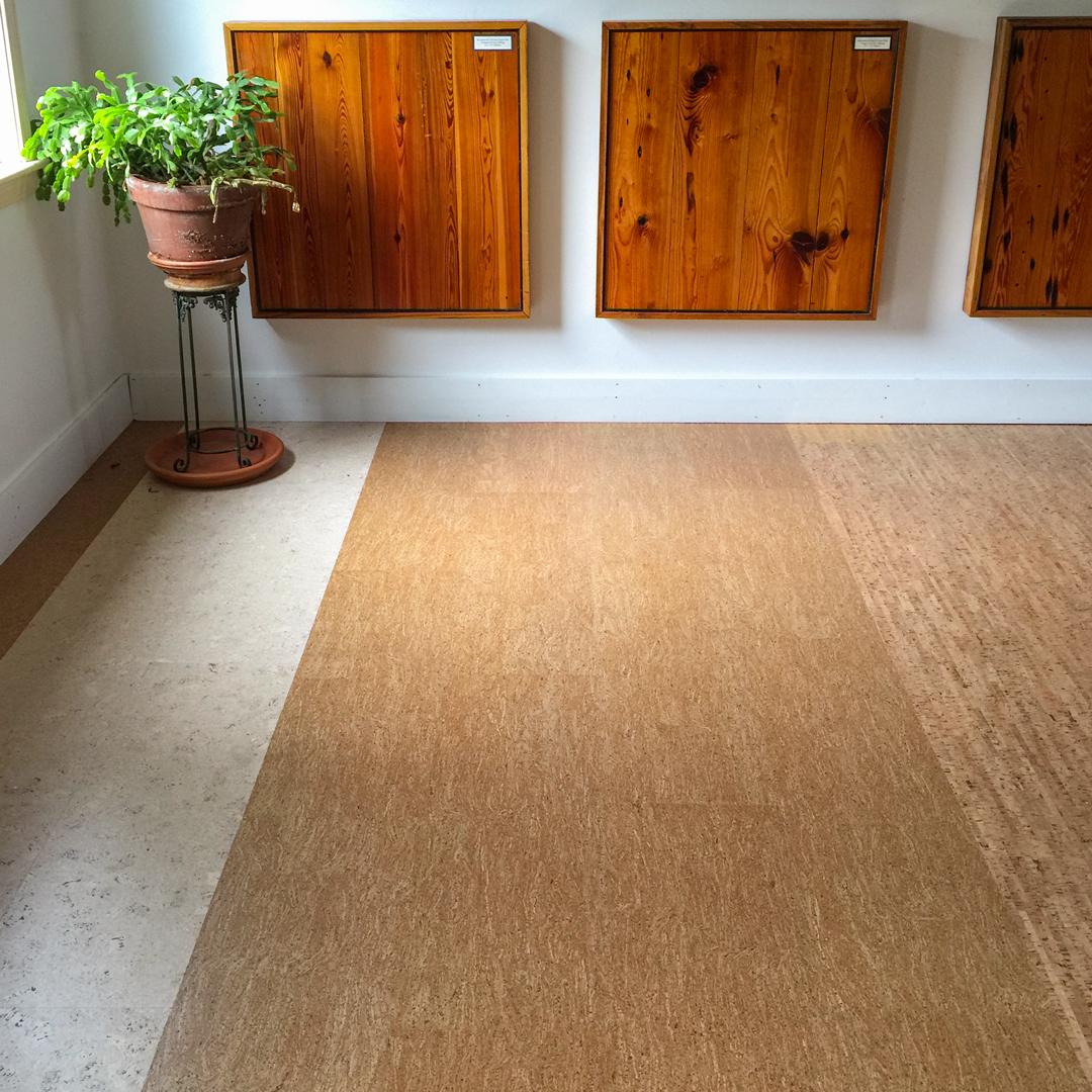 Cork Flooring in Longleaf Lumber Cambridge Showroom