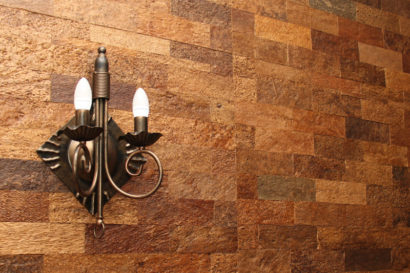 WE Cork Wall Paneling In Restaurant - Bark Style