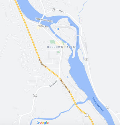 Map by Google of Bellows Falls, Vermont 2020