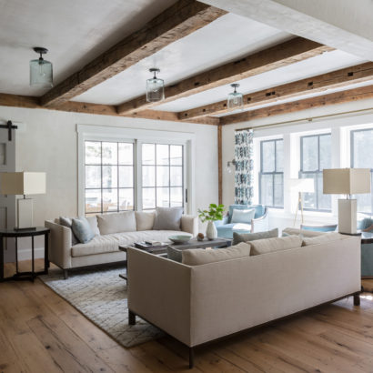 Antique Hand-Hewn Ceiling Beams and Oak Flooring in Private Home