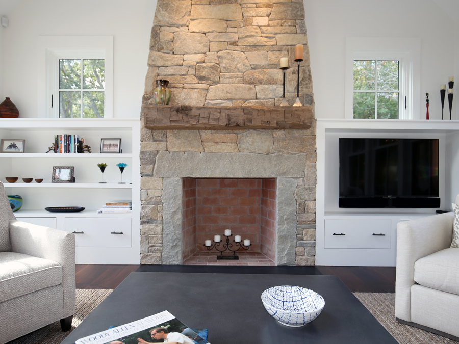 Salvaged Hand-Hewn Fireplace Mantel