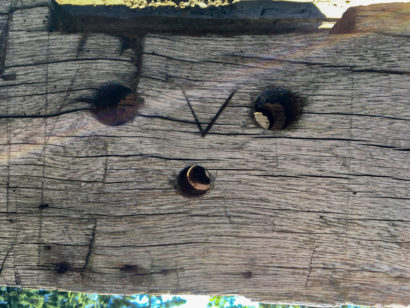 Marriage Marks on Antique Hand-Hewn Oak Beams
