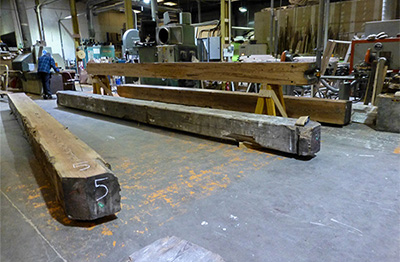 Heart Pine Beams Being Prepared For Studio 58 Mackintosh Building, Glasgow School of Art, Scotland