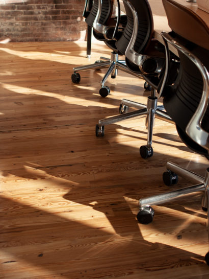 Reclaimed Heart Pine 'Run-Of-The-Mill' Flooring in Co-Working Space