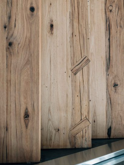 Reclaimed hickory stair treads with repair key